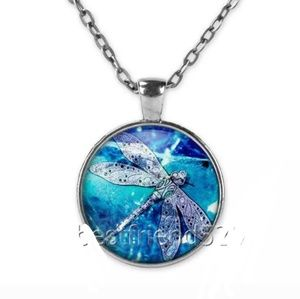 Abstract Blue Dragonfly Silver & Glass Necklace